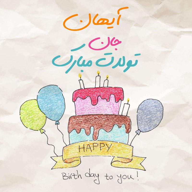 عکس نوشته آیهان جان تولدت مبارک