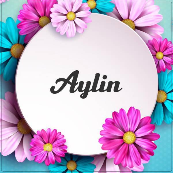 عکس نوشته اسم آیلین با طرح گل