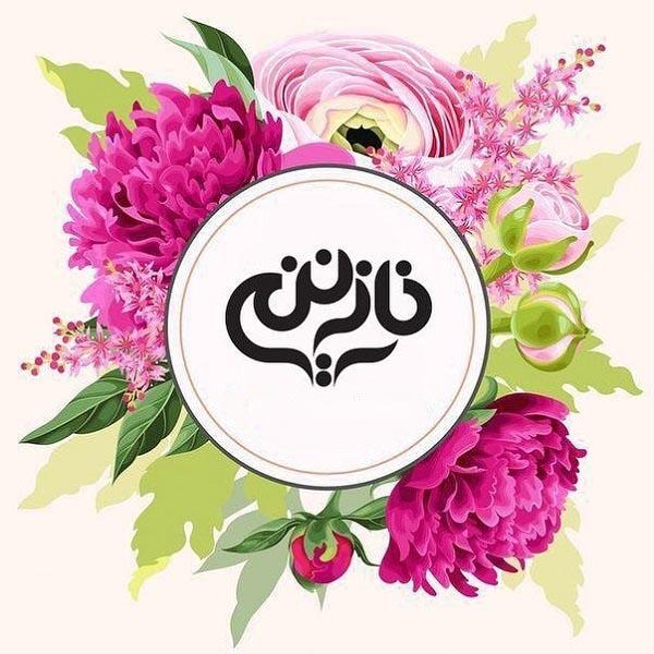 عکس نوشته اسم نازنین با طرح گل