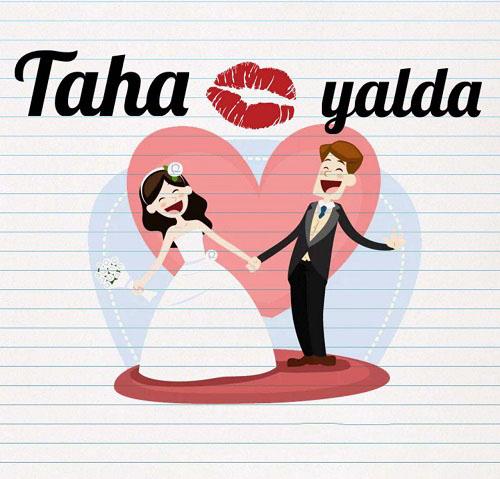 عکس نوشته طاها و یلدا