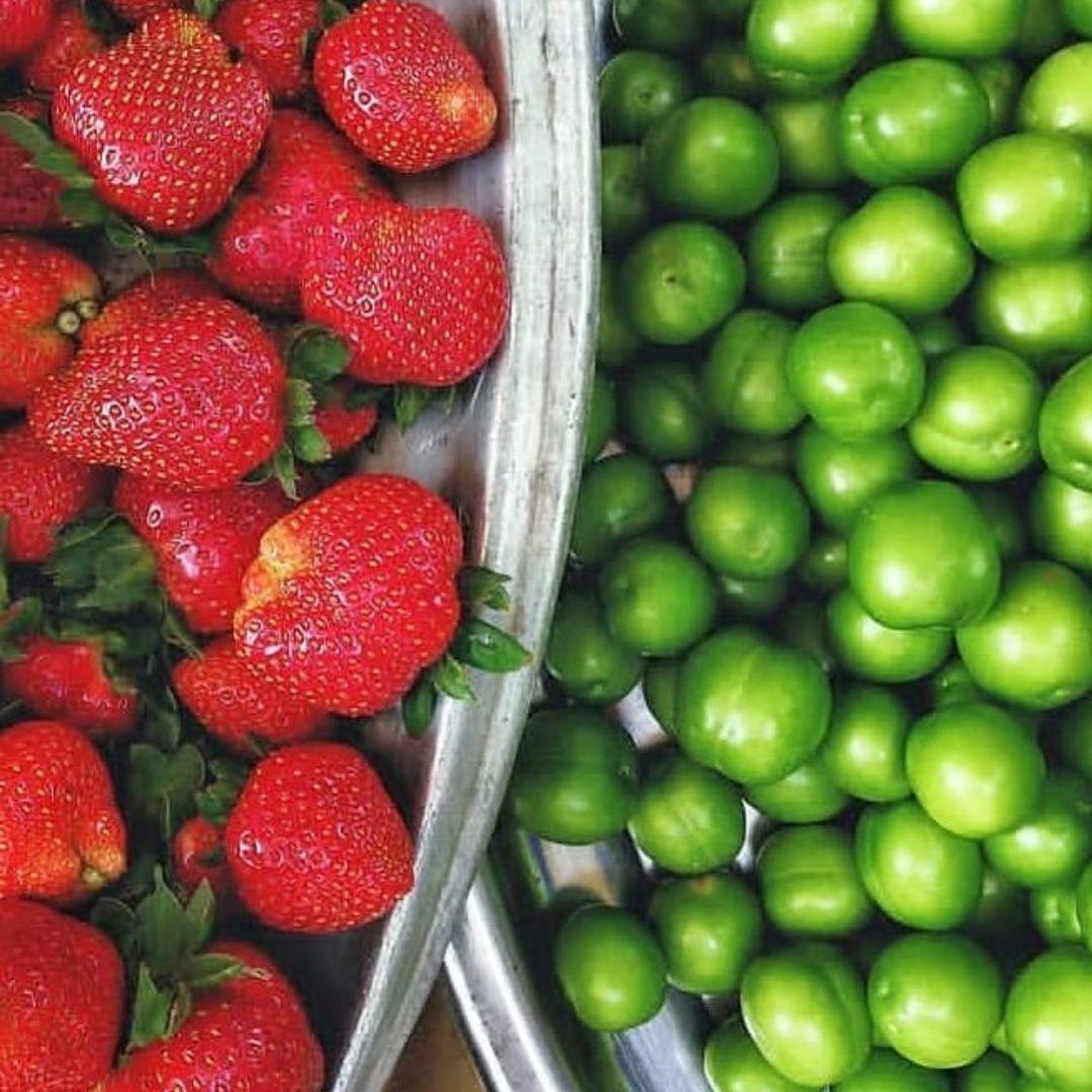 سینی گوجه سبز و توت فرنگی