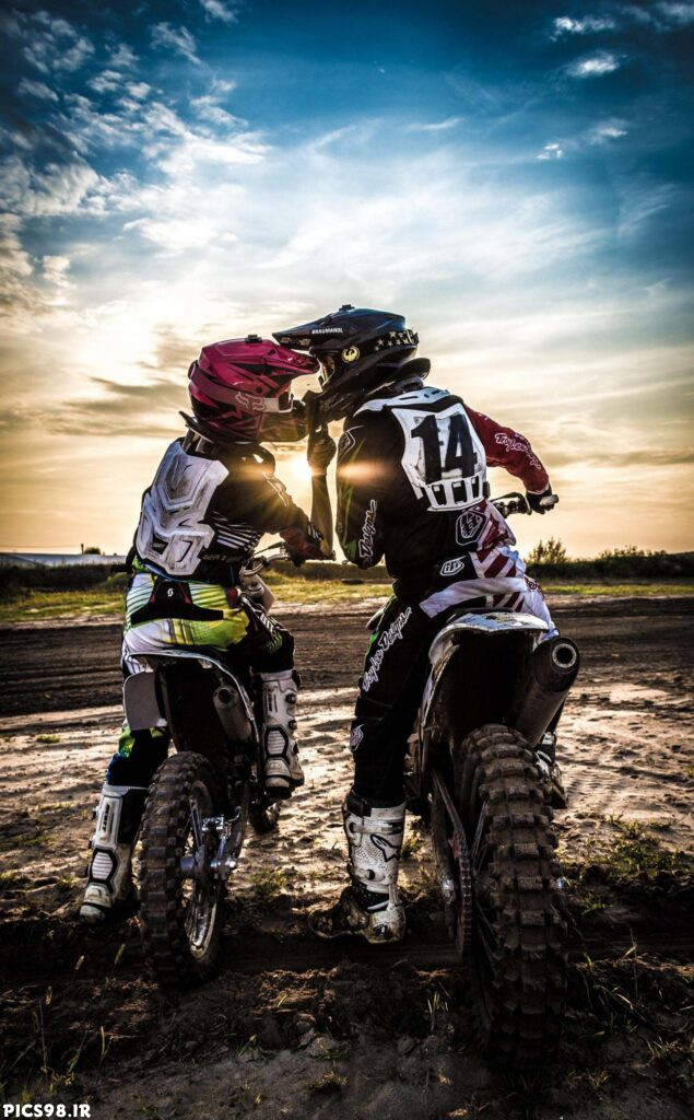 عکس نوشته موتورسواری دونفره دختر و پسر