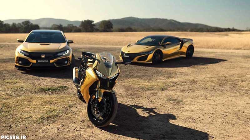 عکس پروفایل موتور و ماشین هوندا به رنگ طلایی