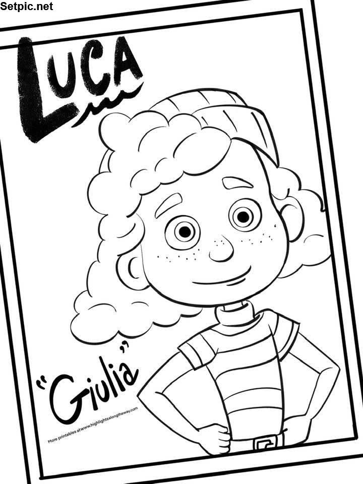 عکس کارتون Luca برای رنگ آمیزی کودک