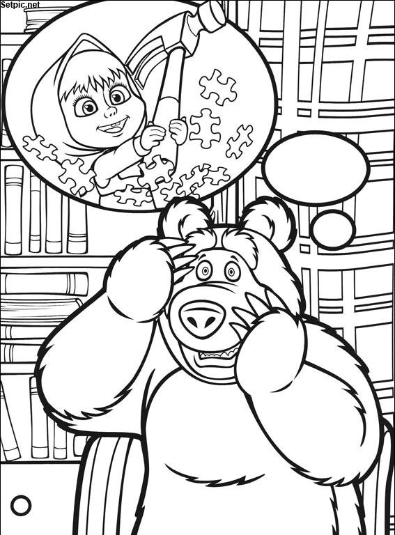 عکس نقاشی رنگ آمیزی کارتون ماشا و خرسه