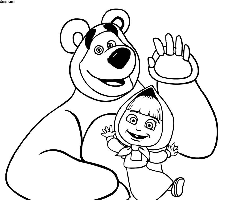 عکس بدون رنگ ماشا و خرسه برای نقاشی کودکان