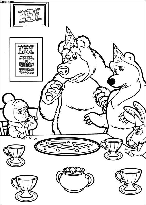 عکس رنگ آمیزی انیمیشن ماشا و خرسه