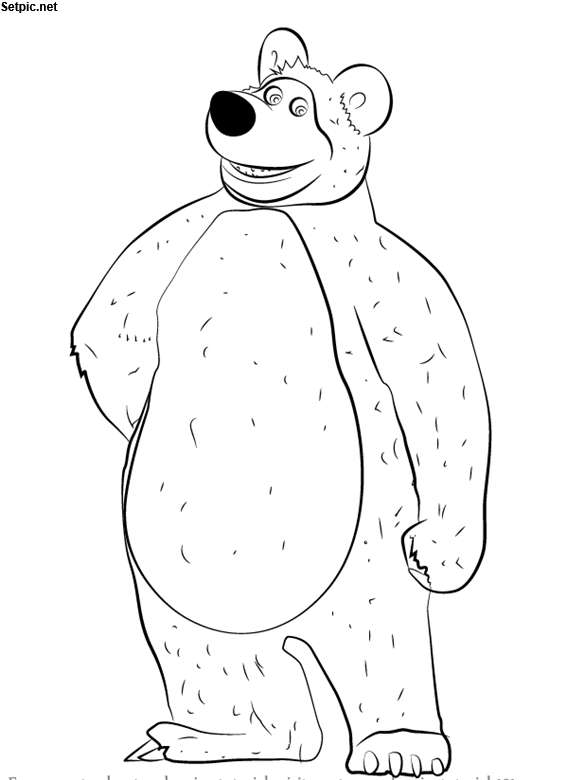 عکس رنگ آمیزی خرس کارتون ماشا