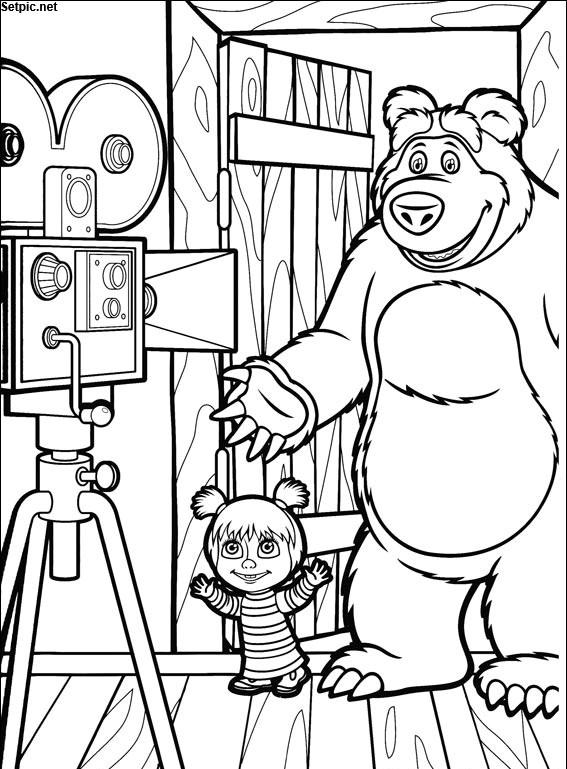 عکس رنگ آمیزی کارتون ماشا و خرسه